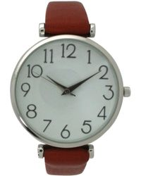 Olivia Pratt Simple Numerals Leather Strap Watch - Brown