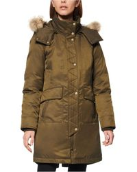Andrew Marc Womens Sydney 3//4 Length Heavy Jacket with Coyote Fur Lined Hood Small Olive