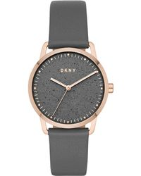DKNY - Greenpoint Gray Leather Strap Watch 36mm, Created For Macy's - Lyst