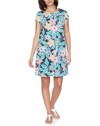 Ruby Rd. Plus Size Summer Floral Short Sleeve Dress - Blue
