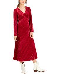Lucy Paris Cranberry Velvet Dress - Red