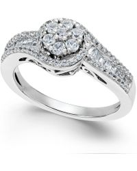 Macy's | Diamond Halo Promise Ring In Sterling Silver (1/2 Ct. T.w.) | Lyst