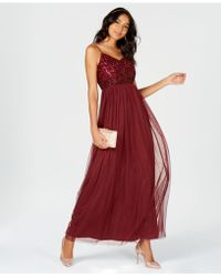 Adrianna Papell - Sequined Tulle Gown - Lyst