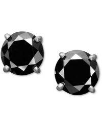 Macy's - 14k White Gold Earrings, Black Diamond Stud Earrings (2 Ct. T.w.) - Lyst