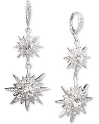 Givenchy Silver-tone Crystal Star Small Double Drop Earrings - Metallic