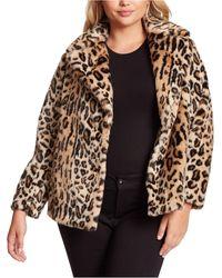 Jessica Simpson Trendy Plus Size Steele Faux-fur Cocoon Coat - Brown