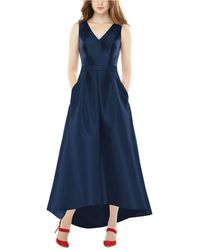Alfred Sung High-low Satin Gown - Blue