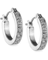 Nine West - Silver-tone Crystal Hoop Earrings - Lyst