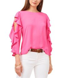 Vince Camuto Ruffle-sleeve Top - Pink