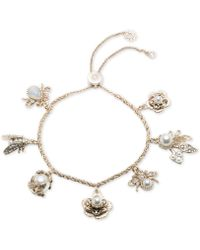 Marchesa - Gold-tone Crystal & Imitation Pearl Garden Charm Slider Bracelet - Lyst