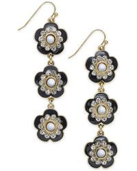 INC International Concepts - I.n.c. Gold-tone Crystal & Stone Flower Linear Drop Earrings, Created For Macy's - Lyst