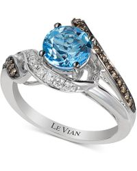 Le Vian - ® Ocean Blue Topaz (1-1/5 Ct. T.w.) & Diamond (1/4 Ct. T.w.) Ring In 14k White Gold - Lyst