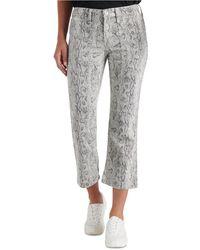 Lucky Brand Ava Snakeskin Print Crop Capri Jeans - Gray