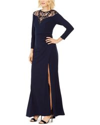 Adrianna Papell Illusion-lace Gown - Blue