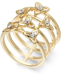 INC International Concepts Inc Gold-tone Pavé Flower Multi-row Stack Ring, Created For Macy's - Metallic