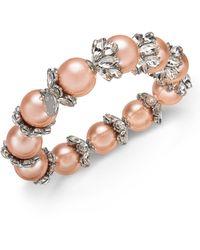 Charter Club Silver-tone Crystal & Imitation Pearl Stretch Bracelet, Created For Macy's - Metallic