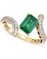 Rare Featuring Gemfields | Certified Emerald (1-1/3 Ct. T.w.) And Diamond (1/3 Ct. T.w.) Ring In 14k Gold | Lyst