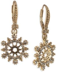 Marchesa - Gold-tone Crystal Openwork Leverback Drop Earrings - Lyst