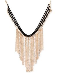 """Guess - Gold-tone Crystal & Fringe Fabric-weaved Statement Necklace, 16"""" + 2"""" Extender - Lyst"""