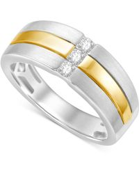 Macy's - Men's Diamond Two-tone Ring (1/4 Ct. T.w.) In 10k White And Yellow Gold - Lyst