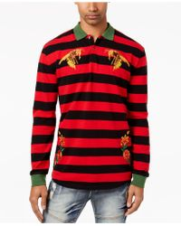 Reason - Men's Bee Embroidered Rugby Stripe Polo - Lyst