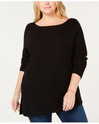 1850d72be6 Lyst - 525 America Bow-detail Cold-shoulder Sweater in Blue