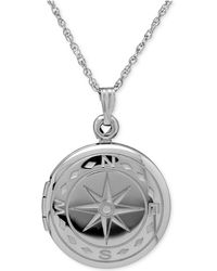 Macy's Compass Locket Necklace In Sterling Silver - Metallic