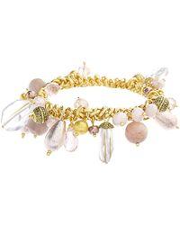 Catherine Malandrino Pink Beaded Cluster Style Stretch Bracelet - Metallic
