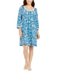 Miss Elaine Floral-print Jersey Knit Nightgown - Blue