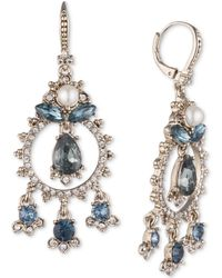 Marchesa - Gold-tone Crystal, Stone & Imitation Pearl Shaky Drop Earrings - Lyst