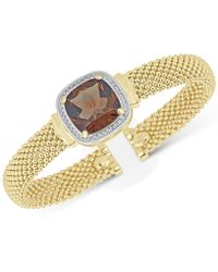 Macy's | Smoky Quartz (10 Ct. T.w.) & White Topaz (1/3 Ct. T.w.) Mesh Bracelet In 14k Gold-plated Sterling Silver | Lyst