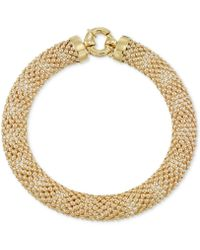 Macy's - Wide Textured Mesh Bracelet In 14k Gold - Lyst