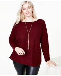 Charter Club Plus Size Cashmere Shirttail Sweater, Created For Macy's - Red
