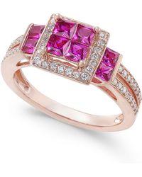 Macy's - Ruby (1 Ct. T.w.) & Diamond (1/4 Ct. T.w.) Ring In 14k Rose Gold - Lyst