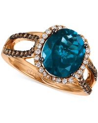 Le Vian London Blue Topaz (4 Ct. T.w.) And Diamond (3/8 Ct. T.w.) Ring In 14k Rose Gold