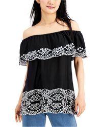 Fever Embroidered Off-the-shoulder Top - Black