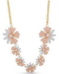 Catherine Malandrino Pink Flower Chain Necklace - Metallic