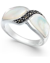 Macy's - Marcasite And Mother-of-pearl Ring In Fine Silver-plate - Lyst