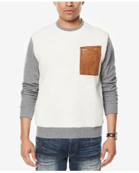 Sean John - Men's Colorblocked Mixed-media Sweatshirt - Lyst