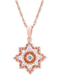 Wrapped in Love - Diamond Openwork Star Pendant Necklace (1/3 Ct. T.w.) In 14k Rose Gold - Lyst