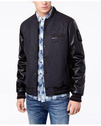 Members Only - Men's Mixed Media Varsity Jacket - Lyst