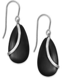 Macy's - Onyx Overlay Drop Earrings In Sterling Silver (10-1/3 Ct. T.w.) - Lyst