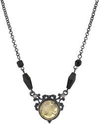2028 Black-tone Crystal Flower Necklace