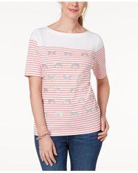 Karen Scott - Embellished Striped T-shirt, Created For Macy's - Lyst