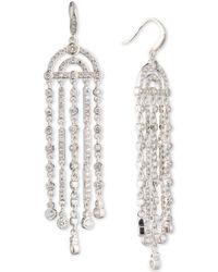 Carolee - Silver-tone Cubic Zirconia Fringe Chandelier Earrings - Lyst