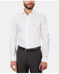 Tommy Hilfiger Slim-fit Stretch Solid Dress Shirt, Online Exclusive Created For Macy's - White