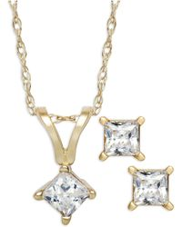 Macy's - Princess-cut Diamond Pendant Necklace And Earrings Set In 10k Gold (1/4 Ct. T.w.) - Lyst