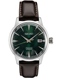 Seiko Automatic Presage Brown Leather Strap Watch 40.5mm