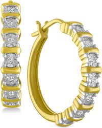Macy's - Diamond Hoop Earrings (1/10 Ct. T.w.) In 14k Gold-plated Sterling Silver - Lyst