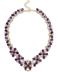"""Charter Club - Gold-tone Amethyst Crystal Statement Necklace, 17-1/2"""" + 2"""" Extender, Created For Macy's - Lyst"""